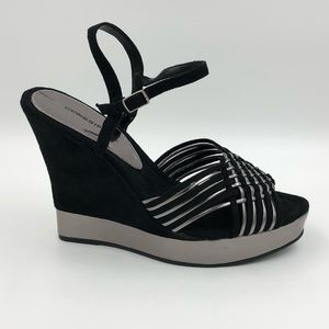 CLASSIFIED Black Suede and Silver Wedge Sandal
